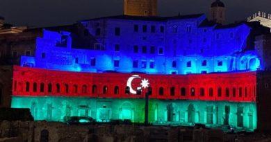 Mercati di Traiano illuminati con la bandiera dell'Azerbaigian