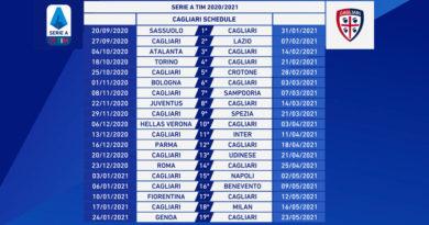 Calendario Serie A 2020/2021, Cagliari Calcio